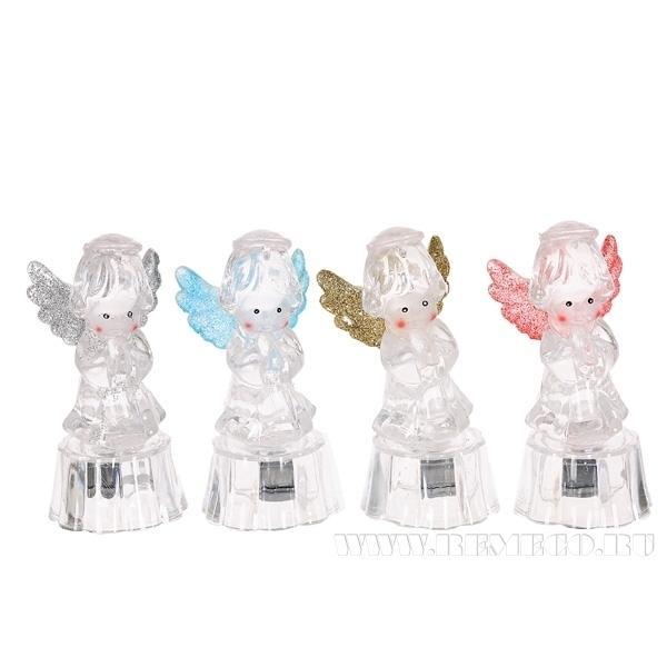 Фигурка декоративная Ангел с подсветкой, H 9 см, 4 в. (тип батарейки LR41-3 шт.) оптом
