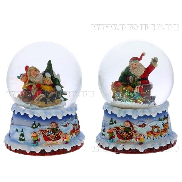 Фигурка декоративная в стеклянном шаре с музыкой Санта, 2в., L11 W11 H14 см оптом