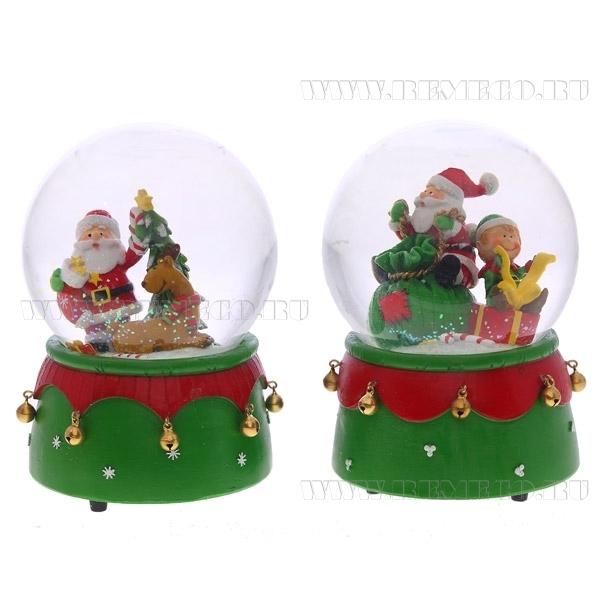 Фигурка декоративная в стеклянном шаре с музыкой Санта, 2в., L11 W11 H15 см оптом