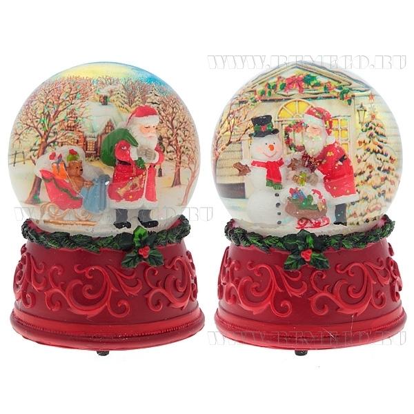 Фигурка декоративная в стеклянном шаре с музыкой Санта, 3D, 2 в., L11 W11 H15 см оптом