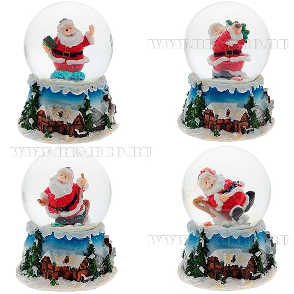 Фигурка декоративная в стеклянном шаре с музыкой Санта, 4в., L12 W12 H15 см оптом