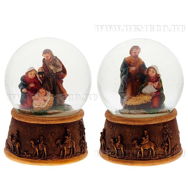 Фигурка декоративная в стеклянном шаре Рождение Иисуса Христа, 2в., L7 W7 H9 см оптом