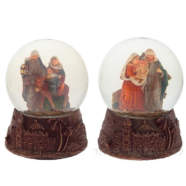 Фигурка декоративная в стеклянном шаре Рождество, 2в., L7 W7 H9 см оптом