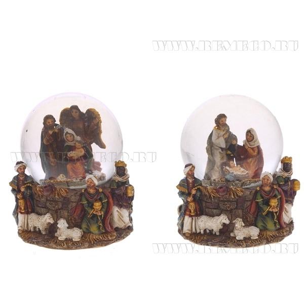 Фигурка декоративная в стеклянном шаре Рождество, 2в., L9 W7 H9 см оптом