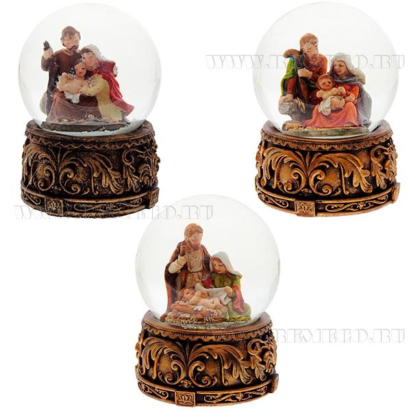 Фигурка декоративная в стеклянном шаре Рождество, 3в., L7 W7 H9 см оптом