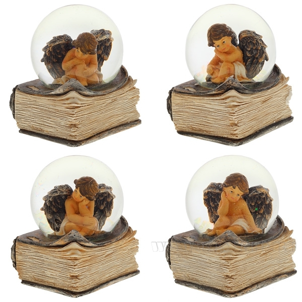 Фигурка декоративная в стеклянном шаре, 65 мм, 4 в. оптом