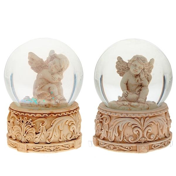 Фигурка декоративная в стеклянном шаре Ангел, 2в., L7 W7 H9 см оптом