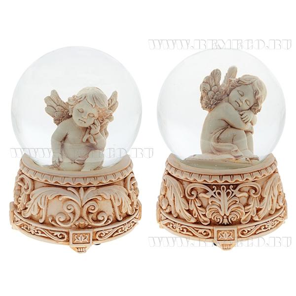 Фигурка декоративная в стеклянном шаре с музыкой Ангел, 2в., L11 W11 H14 см оптом
