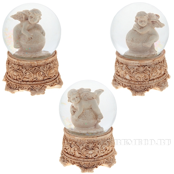 Фигурка декоративная в стеклянном шаре Ангел, 3в., L8 W8 H10 см оптом