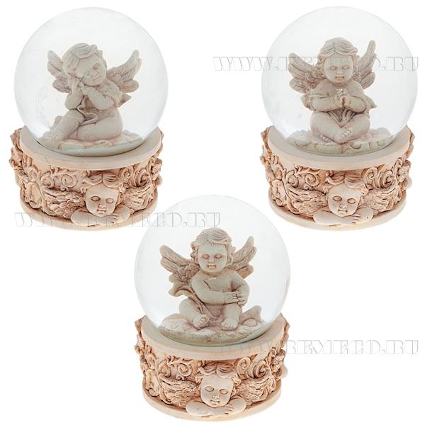 Фигурка декоративная в стеклянном шаре Ангел, 3в., L7 W7 H9 см оптом