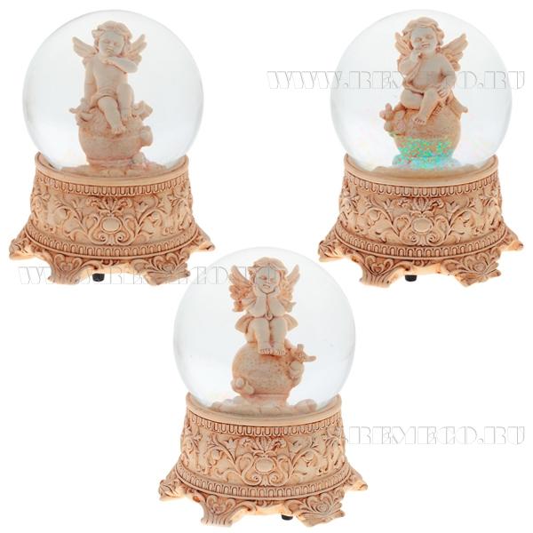 Фигурка декоративная в стеклянном шаре с музыкой Ангел, 3в., L13 W13 H15 см оптом