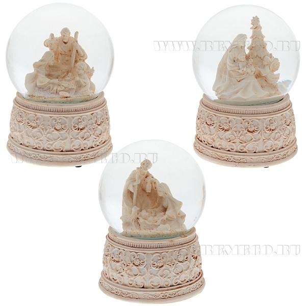 Фигурка декоративная в стеклянном шаре с музыкой Рождество, 3в., L11 W11 H15 см оптом