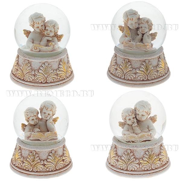 Фигурка декоративная в стеклянном шаре Ангел, 4в., L8 W8 H9 см оптом