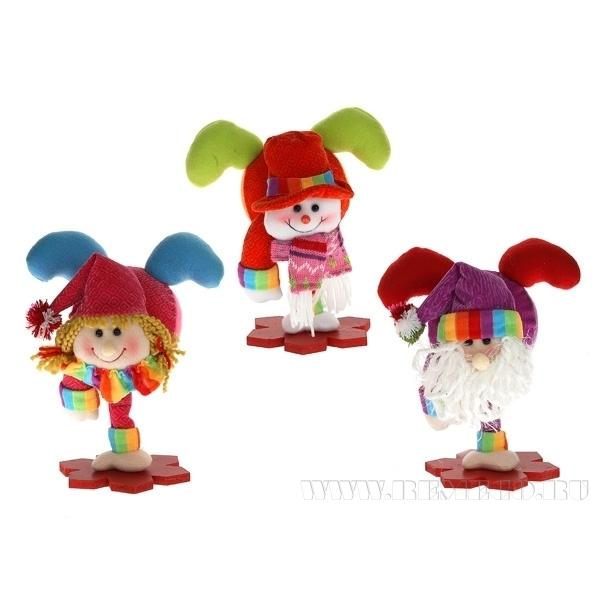 Игрушка мягконабивная Дед Мороз, Снеговик, Снегурочка на подставке, L25 W22 H14 см, 3 в. оптом
