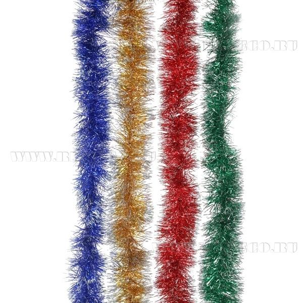 Мишура, 6 сложений (красн., зол., син., зелен., малин.), 9x270 cм, 4 в. оптом