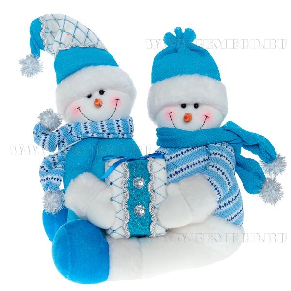 Игрушка мягконабивная Снеговики, L30 H40 см оптом