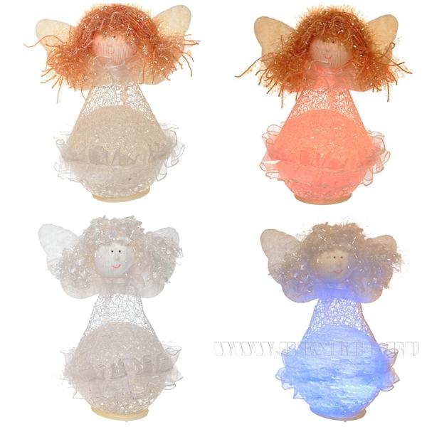Новогоднее украшение со светодиодом Ангел, Н 13 см, 2 в. оптом