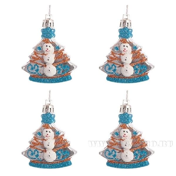 Набор из 4-х новогодних украшений, H-60мм оптом