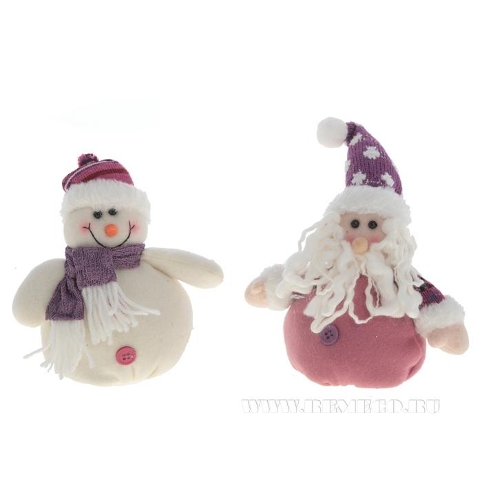 Игрушка мягконабивная Санта, Снеговик, Н 16 см, 2 в. оптом