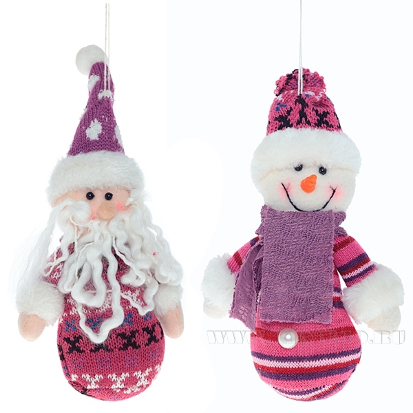 Игрушка мягконабивная Снеговик, Санта, Н 16 см, 2 в. оптом