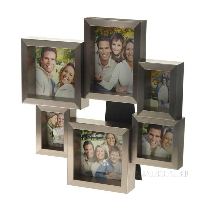 Фоторамка для 6 фотографий (5х8 (2), 9х9, 9х13, 10х10 (2) см), L 31 см, H 32 см оптом