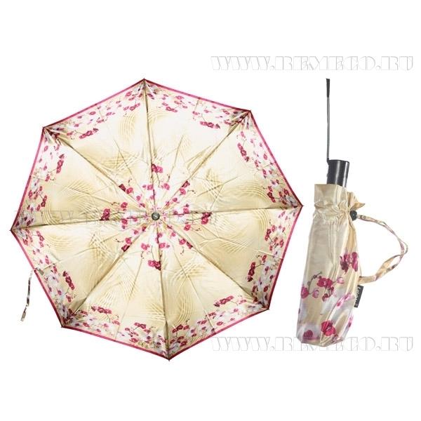 Зонт 23, женский полный автомат (Атласный, Орхидеи) оптом