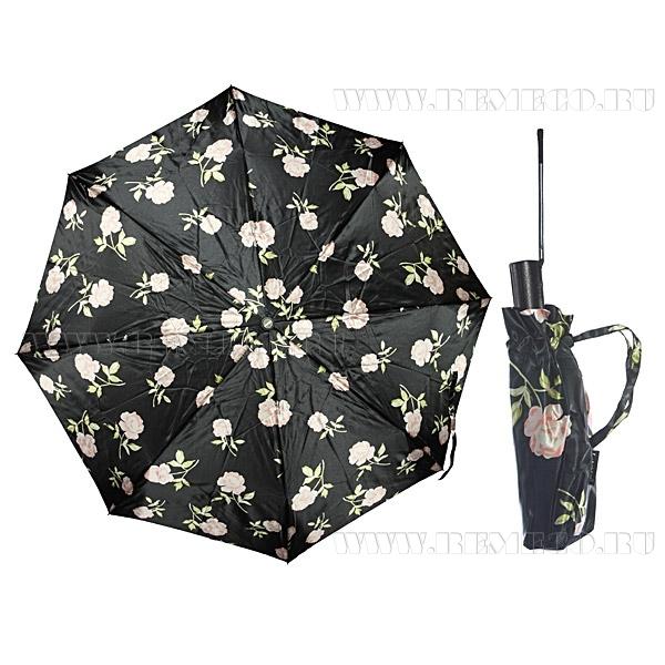Зонт 23, полный автомат, атласный (Розы на черном фоне) оптом