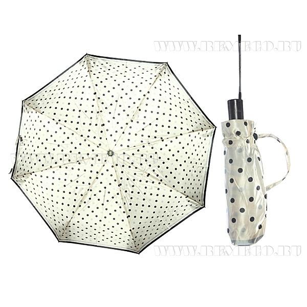 Зонт 23, полный автомат, атласный (Горохи на белом) оптом
