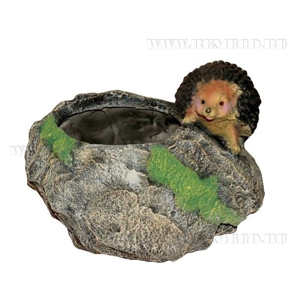 Кашпо декоративное Ежик у камня, L26 W17 H19 см оптом