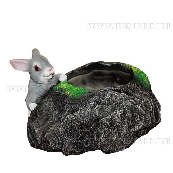 Кашпо декоративное Заяц у камня, L28 W19 H17 см оптом