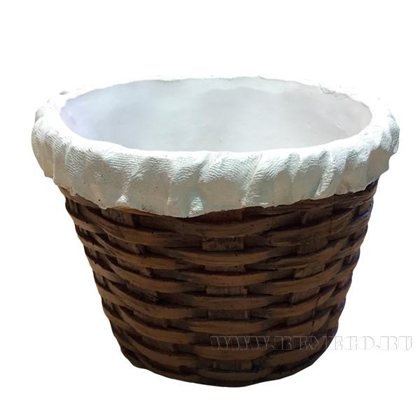 Кашпо декоративное (Корзина плетенная круглая (с салф.) L18W18H12,5 см) оптом