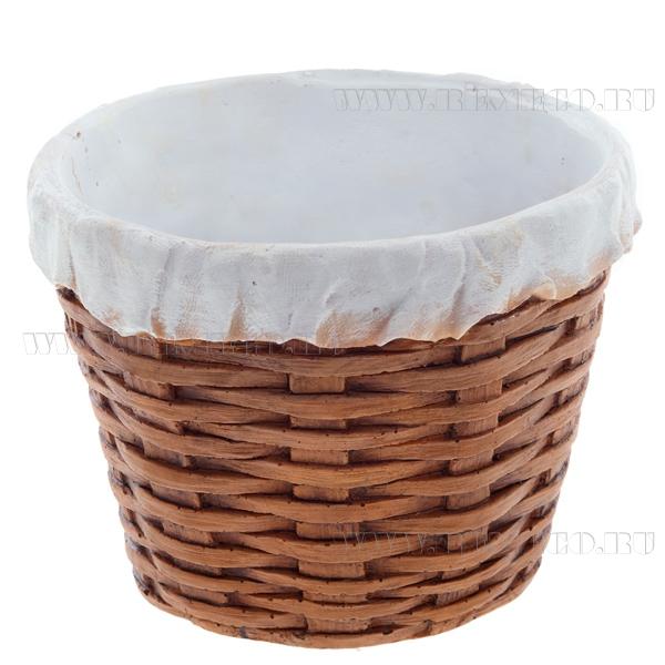Кашпо декоративное Корзина плетенная круглая (с салф.) L21W21H15,5 см оптом