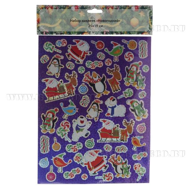 Набор наклеек для подарков Новогодний, 25*19 см оптом