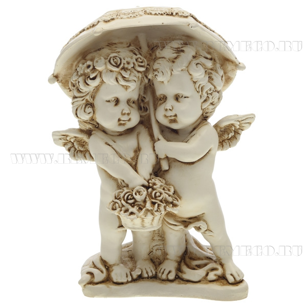 Фигура декоративная Ангелочки под зонтом (цвет антик), L11,5W9,5H15,5 cм оптом