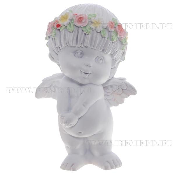 Фигура декоративная Ангел (цвет белый), L10W8H14,5 cм оптом