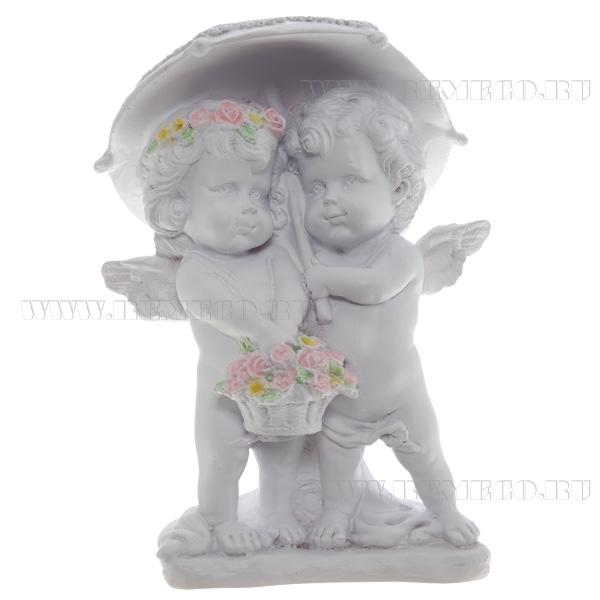 Фигура декоративная Ангелочки под зонтом (цвет белый), L11,5W9,5H15,5 cм оптом