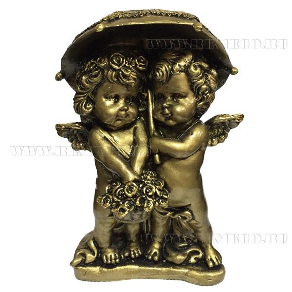 Фигура декоративная Ангелочки под зонтом (цвет сусальное золото), L11,5W9,5H15,5 cм оптом