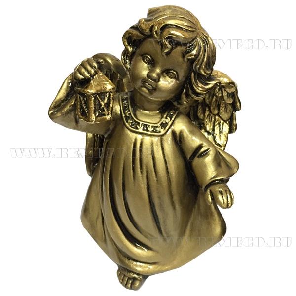 Фигура декоративная Ангел с фонариком (цвет сусальное золото), L11W8H15 cм оптом