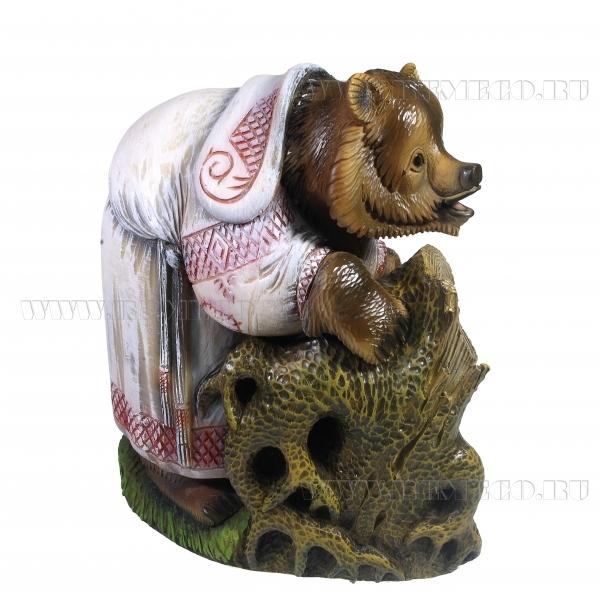 Фигурка декоративная Мишка у дупла, L25W16 Н27,5см оптом