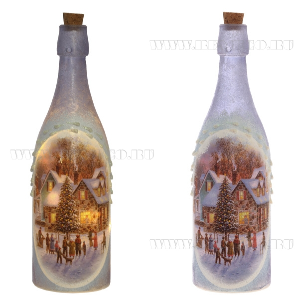 Декоративная бутылка с подсветкой (на батарейках), H30см (без инд.упаковки) оптом