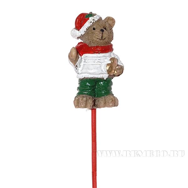 Декоративное изделие Медвежонок на палочке, L2,1 W1,7 H3,5 см оптом