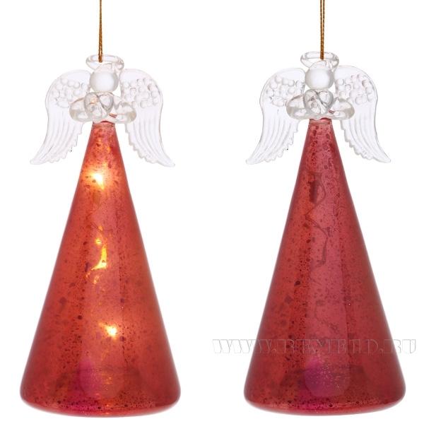 Фигурка декоративная Ангел с подсветкой, L7 W7 H14,5 см (темно-красный) (без инд.упаковки) оптом