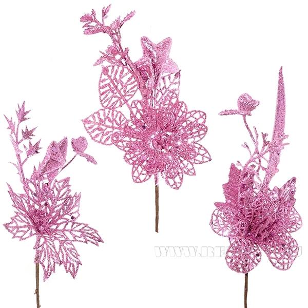 Новогоднее украшение Цветок, H 20 см, 3 в. (без инд.упаковки) оптом