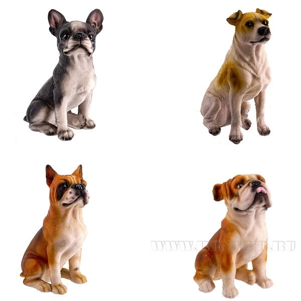 Фигурка декоративная Собака, 11x7.5x17 см, 4в. оптом