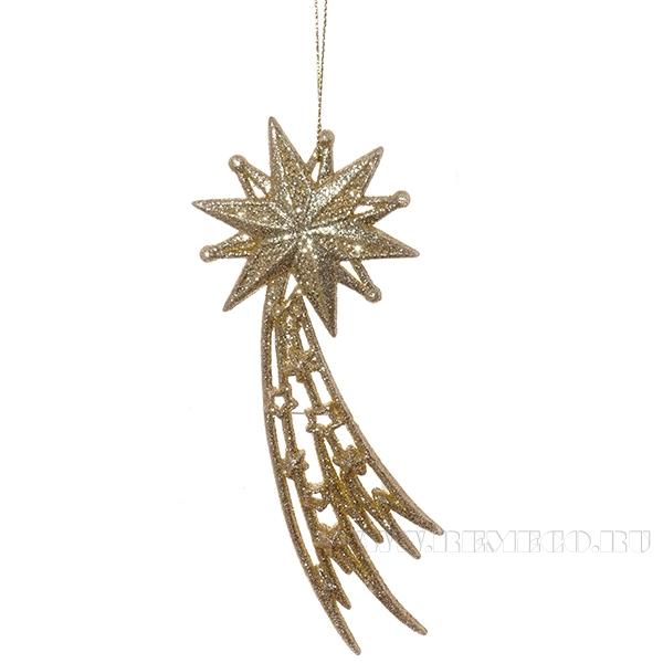 Новогоднее украшение Звезда, 7x0.5x15 см оптом