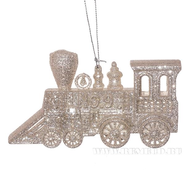 Новогоднее украшение Поезд, 12x3x6.5 см оптом