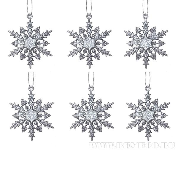 Набор из 6-ти новогодних украшений Снежинка, 6x0.1x6.8 см оптом
