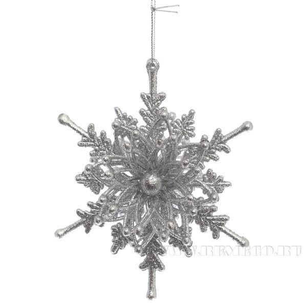 Новогоднее украшение Снежинка, 13x6x13 см оптом
