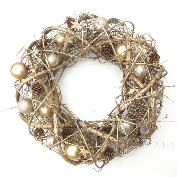 Новогоднее украшение Венок, D34 см оптом
