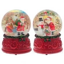 Фигурка декоративная в стеклянном шаре с музыкой Санта, 3D, 2 в., L11 W11 H15 см